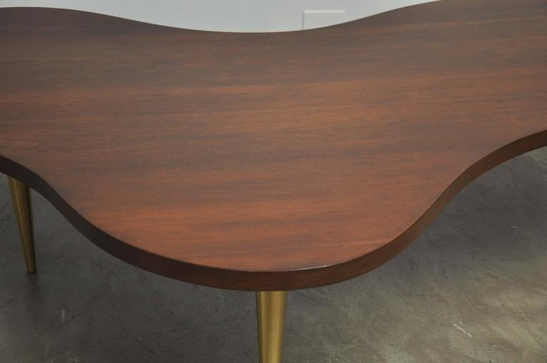 Monumental Biomorphic Walnut and Brass Table by T.H. Robsjohn-Gibbings For Sale 2