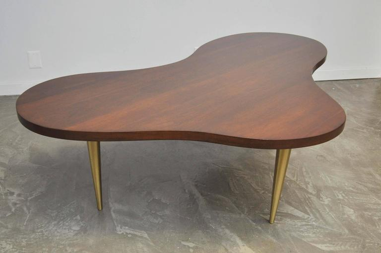 Monumental Biomorphic Walnut and Brass Table by T.H. Robsjohn-Gibbings For Sale 3