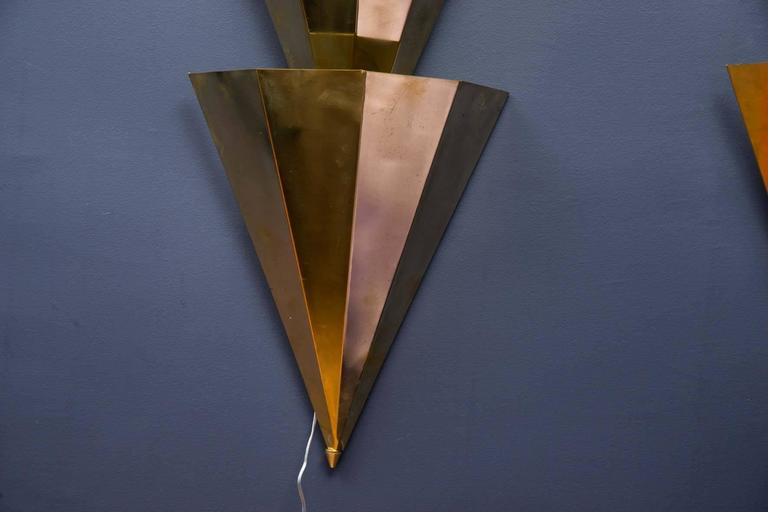 Pair of Long Shape Brass Sconces at 1stdibs