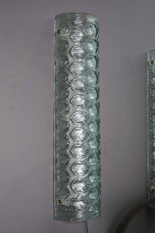 Tall Glass Wall Sconces : Set of Six Tall Honeycombed Murano Glass Wall Sconces For Sale at 1stdibs