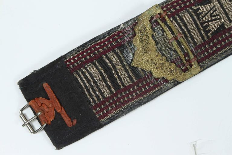 Embossed Middle Eastern Yemeni Jambiya Dagger with Belt For Sale