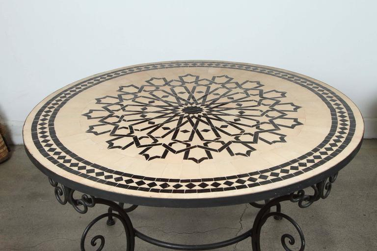 Moorish Moroccan Outdoor Round Mosaic Tile Dining Table on Iron Base 47 in. For Sale