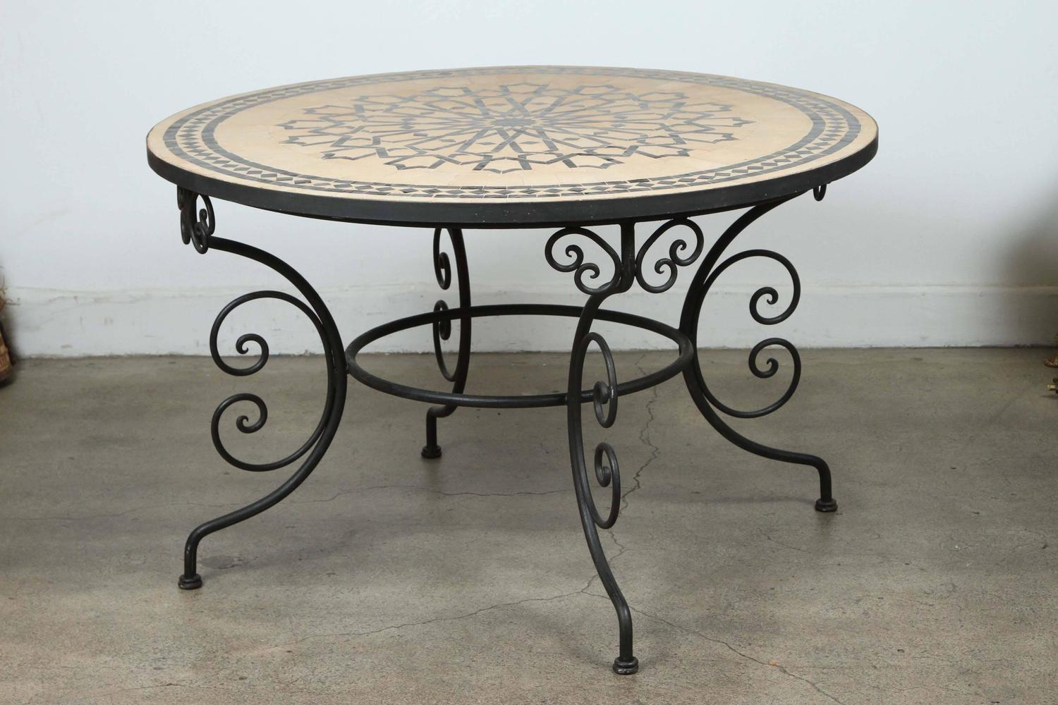 Outdoor Dining Set Round Table.Moroccan Outdoor Round Mosaic Tile Dining Table On Iron Base 47 In