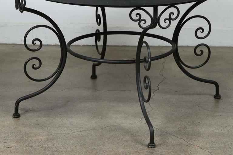Moroccan Outdoor Round Mosaic Tile Dining Table on Iron Base 47 in. For Sale 2