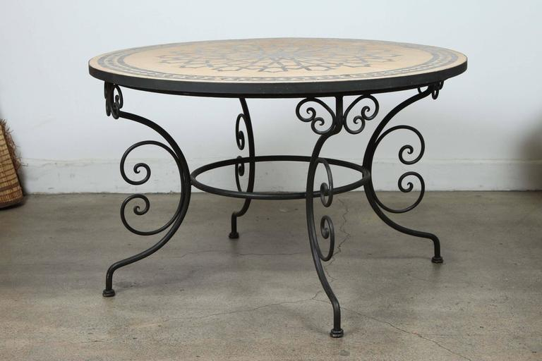 Moroccan Outdoor Round Mosaic Tile Dining Table on Iron  : DANM2555l from www.1stdibs.com size 768 x 512 jpeg 42kB