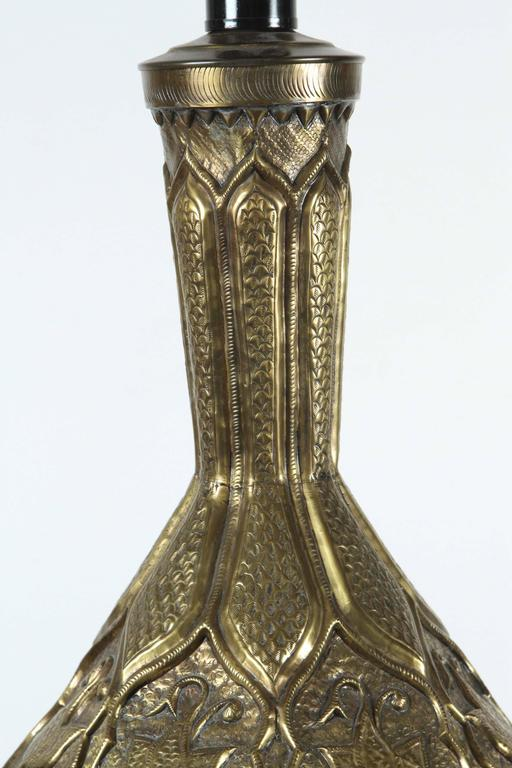 20th Century Moorish Indo Persian Brass Table Lamp For Sale
