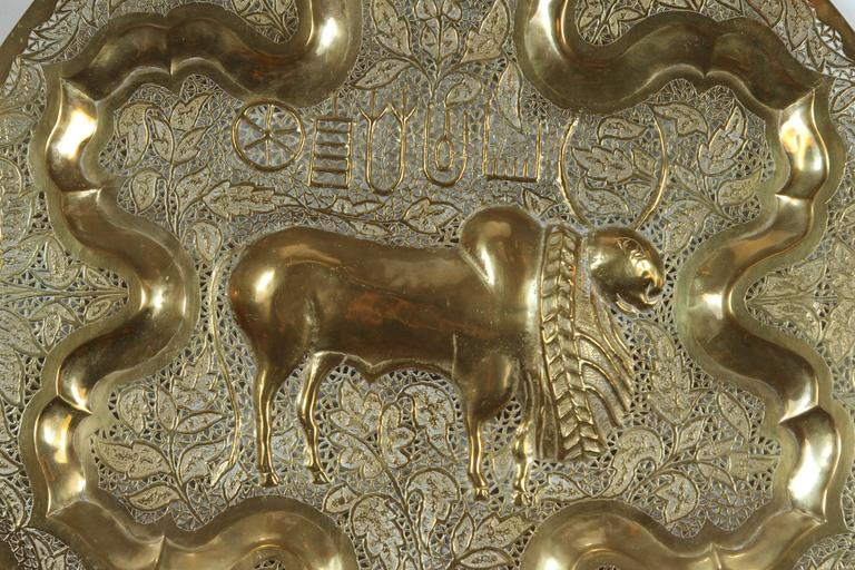 Indian Anglo Raj Hanging Hammered Polished Brass Tray For Sale