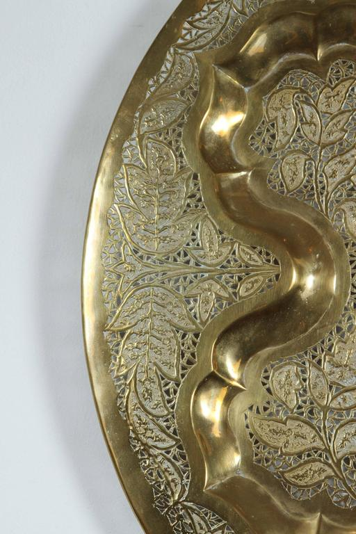 Hand-Carved Anglo Raj Hanging Hammered Polished Brass Tray For Sale