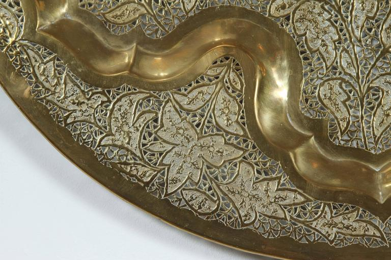 20th Century Anglo Raj Hanging Hammered Polished Brass Tray For Sale