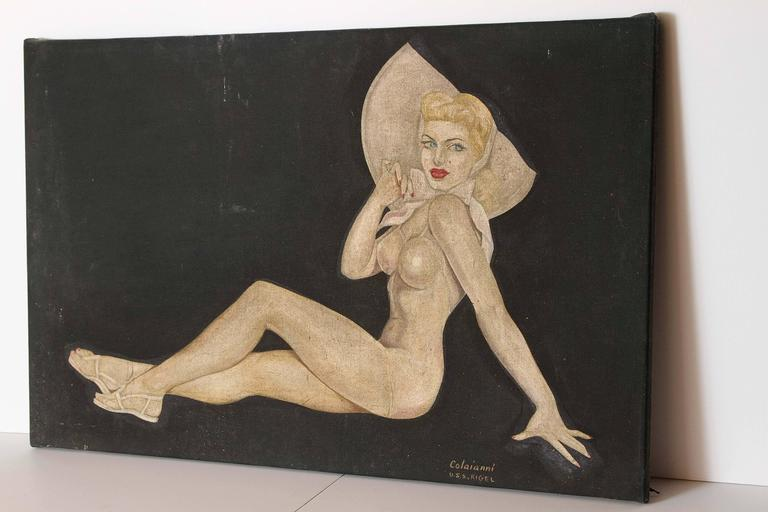 Painted by seaman Colaianni on the USS Rigel, circa 1940s. Nicely executed cheesecake image in manner of Petty / Varga / Vargas. The Rigel was docked at Pearl Harbor during the attack in World War II.  Good original condition, some staining to