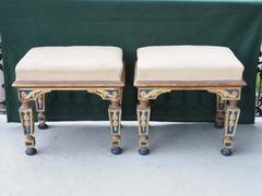 Pair of 19th c. Gilt and Polychrome Benches