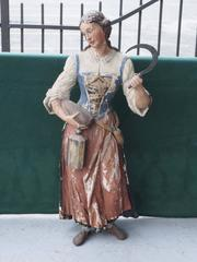 19th c Polychromed  Carved Wood Statue of Woman