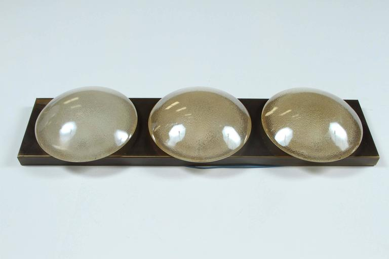 Sea Gull Lighting Windgate 9 In W 3 Light Brushed Nickel: Three Globe Opalescent Sconce By Doria For Sale At 1stdibs