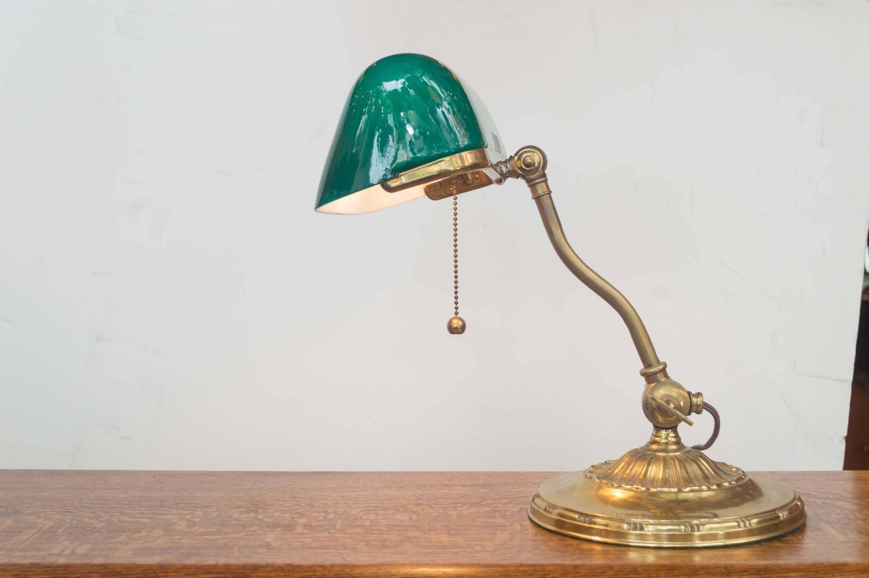 Vintage bankers desk lamp - Simple Vintage Bankers Lamp Desk Lamp Green Glass Shade