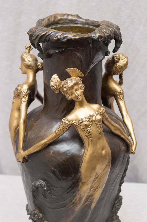 Early 20th Century Art Nouveau Gilt and Patinated Bronze Vase, French, Artist Signed Chalon For Sale