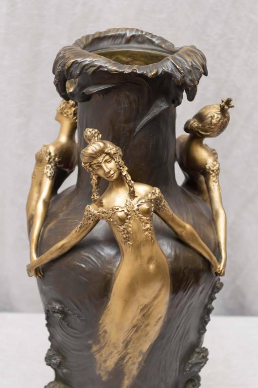 Art Nouveau Gilt and Patinated Bronze Vase, French, Artist Signed Chalon For Sale 1