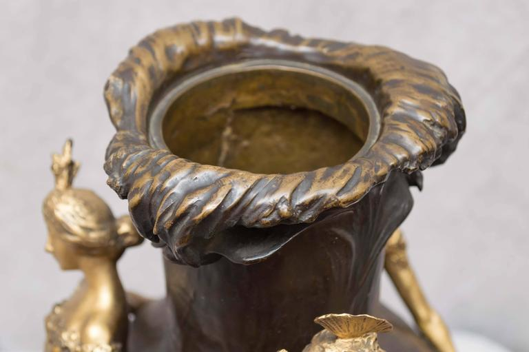 Art Nouveau Gilt and Patinated Bronze Vase, French, Artist Signed Chalon For Sale 3