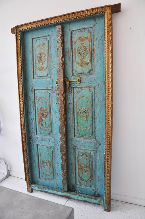 Antique Indian Gilded Doors 3 - Antique Indian Gilded Doors At 1stdibs
