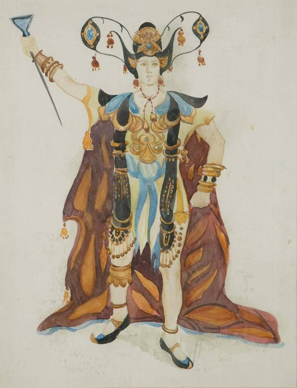 This watercolor is a theatre costume design by Leon Bakst (1866-1924). Bakst is the most famous and sought after theatre and ballet costume designer. In particular he designed most of the costumes for the