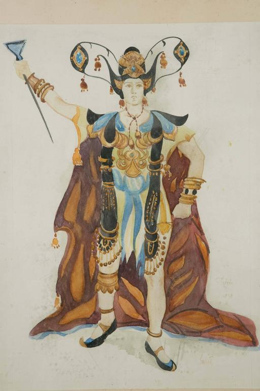 Russian Exceptional Original Theatre Costume Design by Léon Bakst, 1905-1910 For Sale