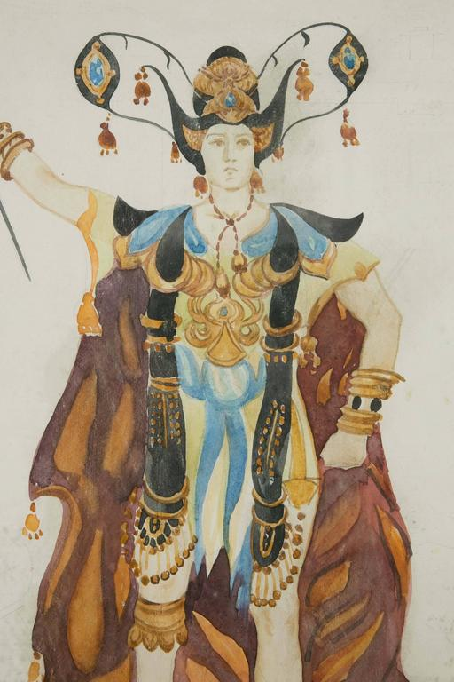 Exceptional Original Theatre Costume Design by Léon Bakst, 1905-1910 In Good Condition For Sale In Paris, FR