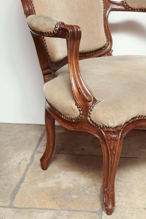 Pair of Carved Louis XV Fauteuil For Sale 3