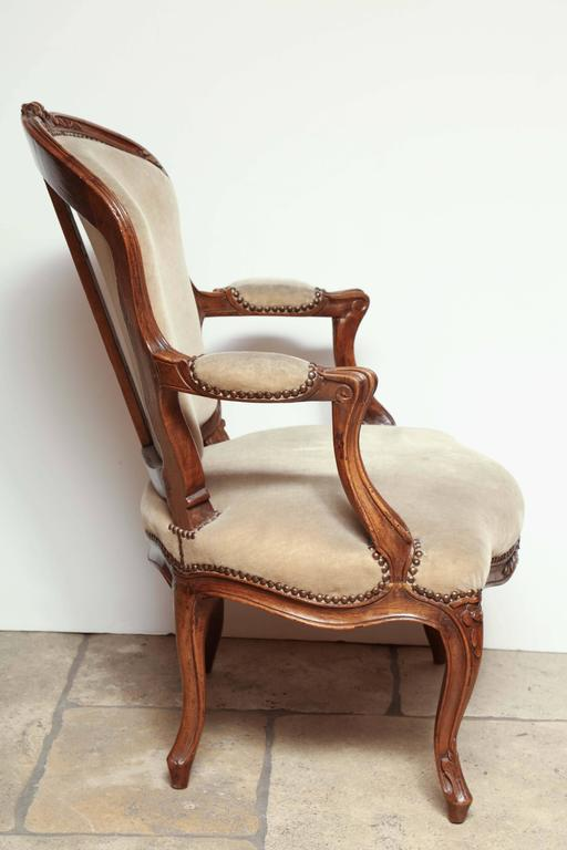 Pair of Carved Louis XV Fauteuil For Sale 4