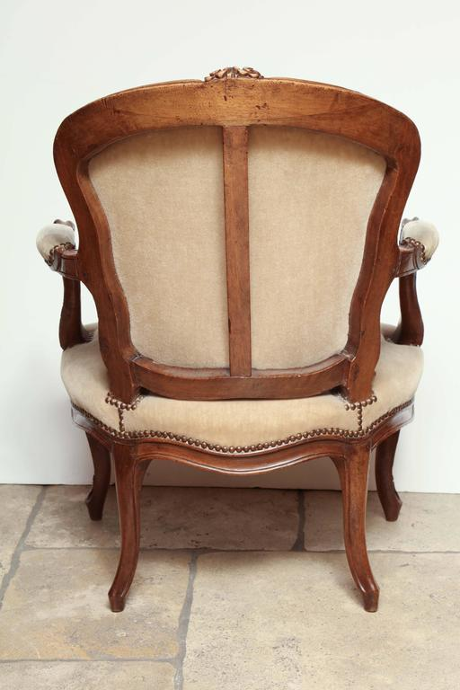 Pair of Carved Louis XV Fauteuil For Sale 5