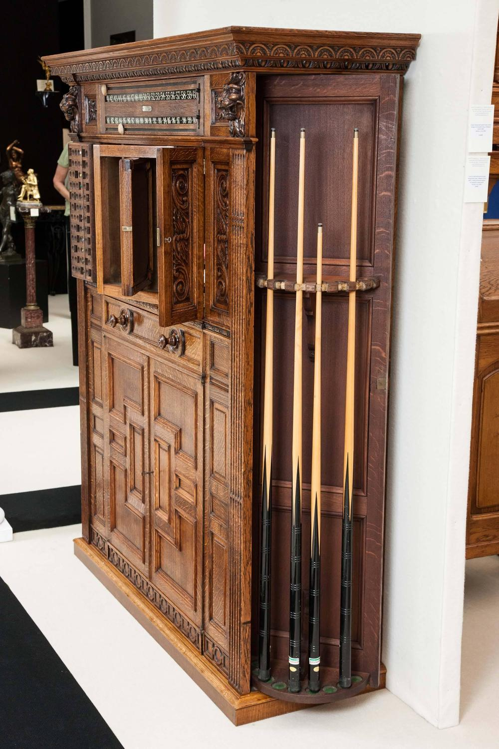 Victorian Carved Oak Billiards Cabinet By Thurston And Co