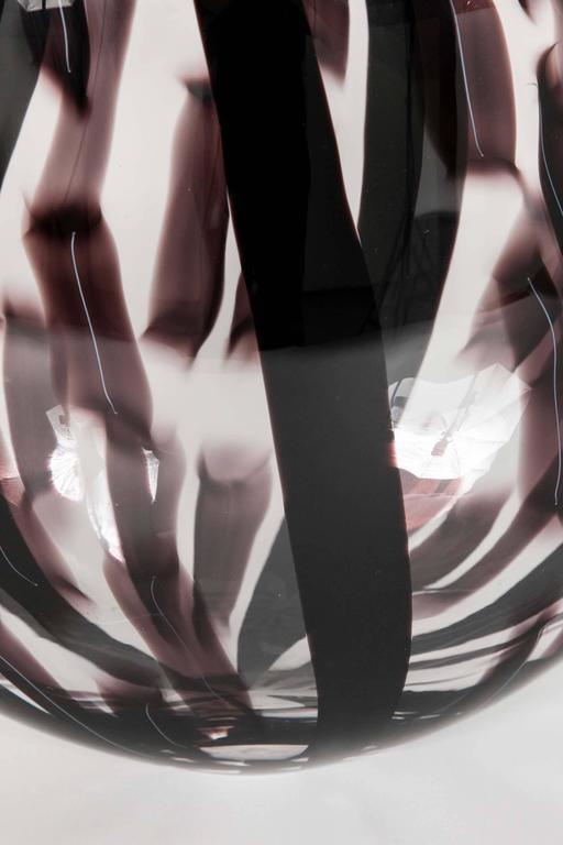 Swedish Ikate II, a clear & aubergine / black Glass blown Sculpture by Ann Wåhlström For Sale