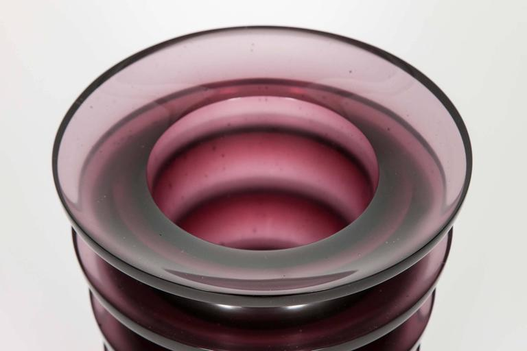 Cast Leila, a unique dark purple / blackberry coloured glass vase by Paul Stopler For Sale