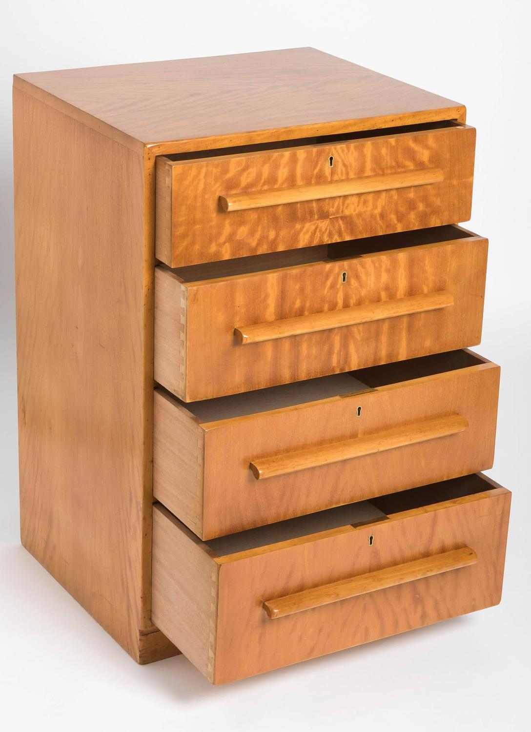 Rare Art Deco Satinwood Chest Of Drawers By Heals Of London For Sale At 1stdibs
