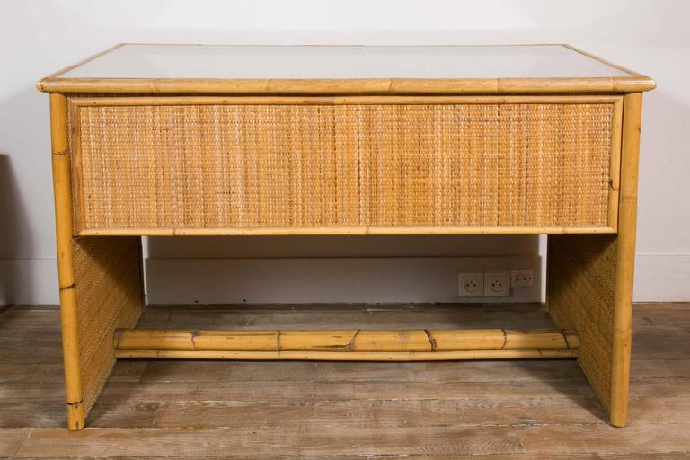 Mid-Century Modern Bamboo and Wicker/Rattan Desk, Italy, 1960 For Sale