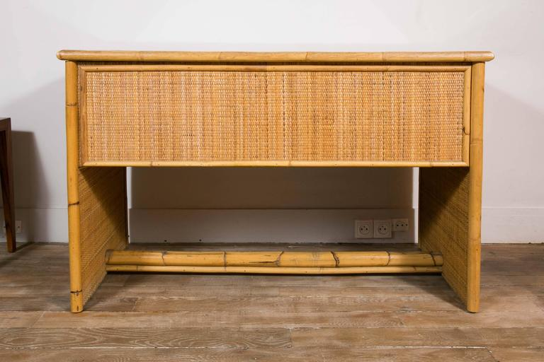 Italian Bamboo and Wicker/Rattan Desk, Italy, 1960 For Sale