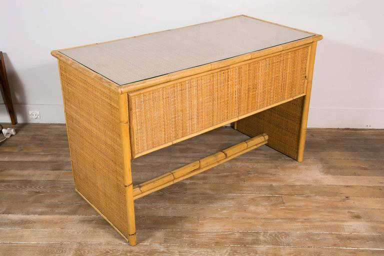 Bamboo and Wicker/Rattan Desk, Italy, 1960 In Excellent Condition For Sale In Paris, Ile-de-France
