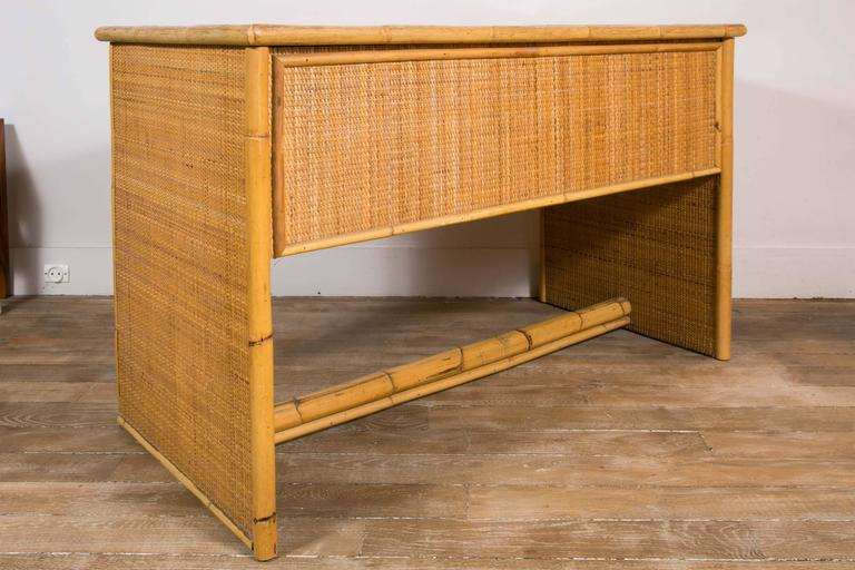 Mid-20th Century Bamboo and Wicker/Rattan Desk, Italy, 1960 For Sale