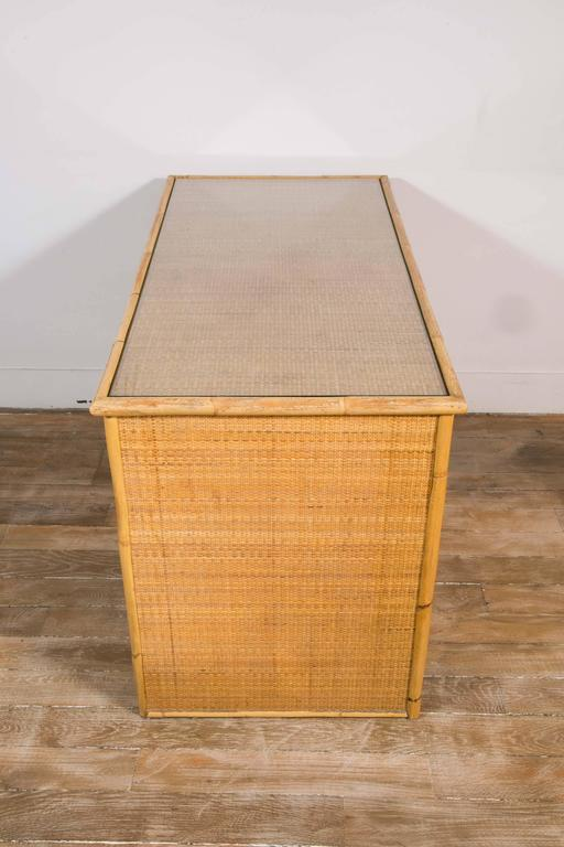 Glass Bamboo and Wicker/Rattan Desk, Italy, 1960 For Sale