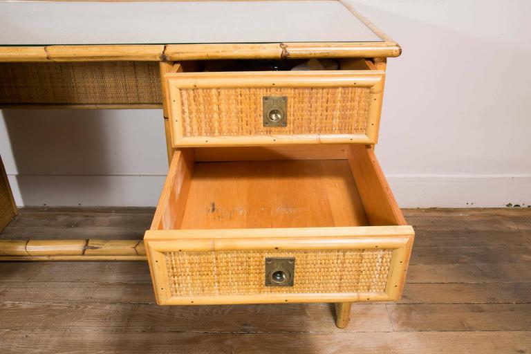 Bamboo and Wicker/Rattan Desk, Italy, 1960 For Sale 2