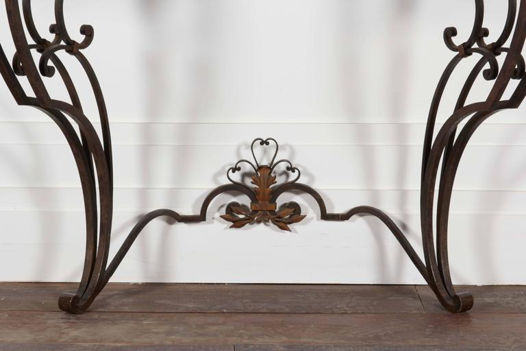 Louis XV Iron and Marble-Top Demilune Console For Sale