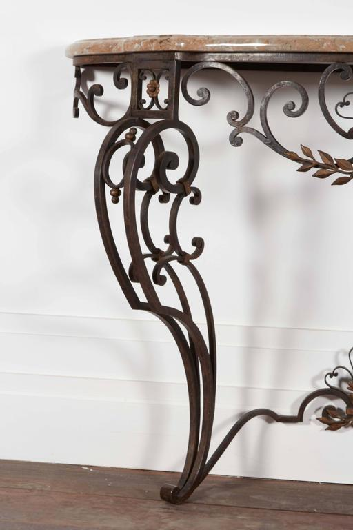 Iron and Marble-Top Demilune Console In Good Condition For Sale In New York, NY