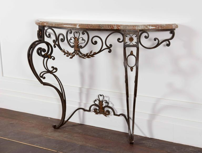 20th Century Iron and Marble-Top Demilune Console For Sale