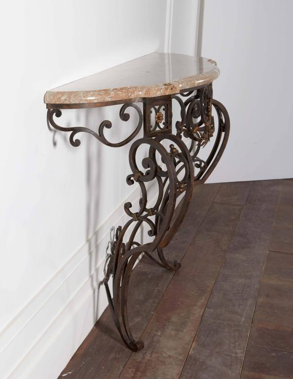 Iron and Marble-Top Demilune Console For Sale 1
