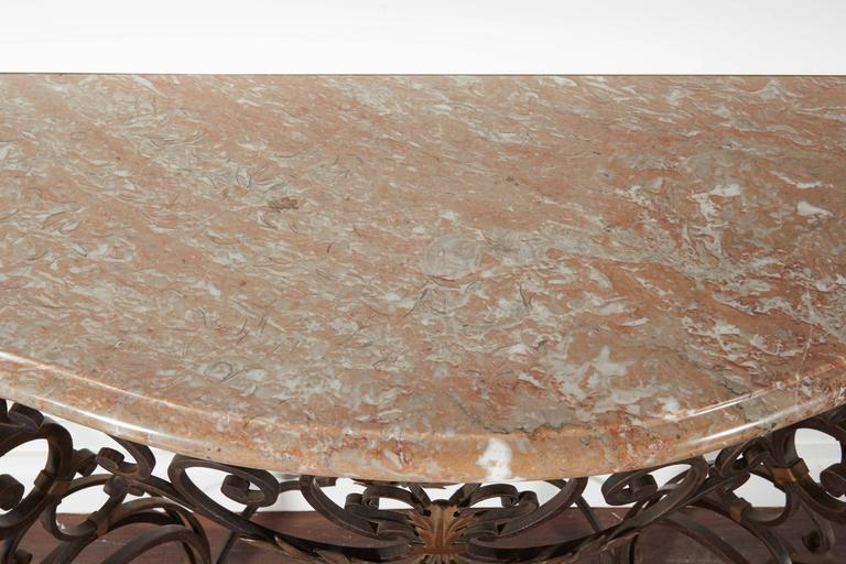 Iron and Marble-Top Demilune Console For Sale 2