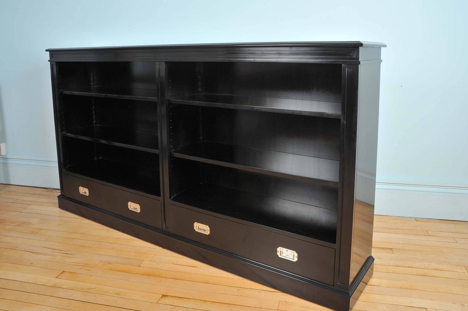 Bespoke Black Lacquer Open Bookcase With Two Military