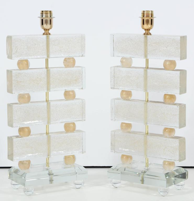 Hand-Crafted Large Pair of Italian Murano Clear Glass and Gold Table Lamps, Signed For Sale