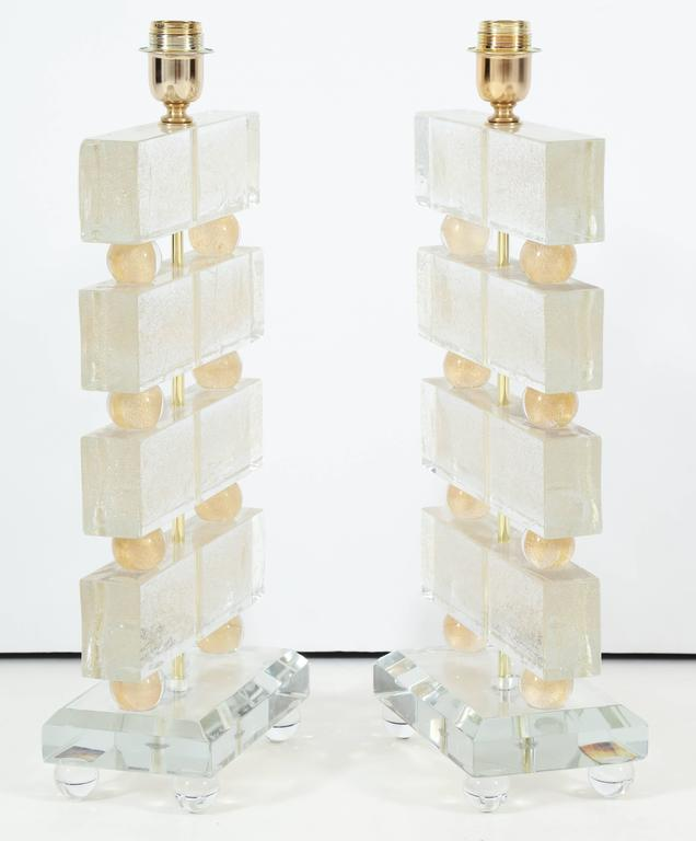 Contemporary Large Pair of Italian Murano Clear Glass and Gold Table Lamps, Signed For Sale