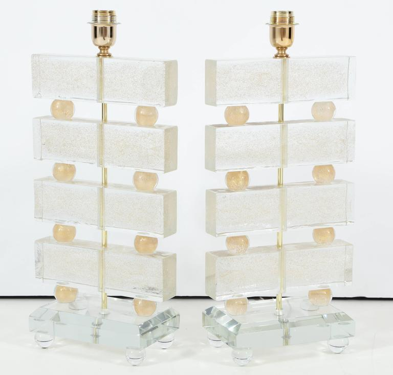 Large Pair of Italian Murano Clear Glass and Gold Table Lamps, Signed For Sale 2