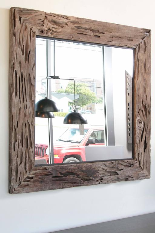 Organic Modern Organic Cypress Decorative Wall Mirror For Sale
