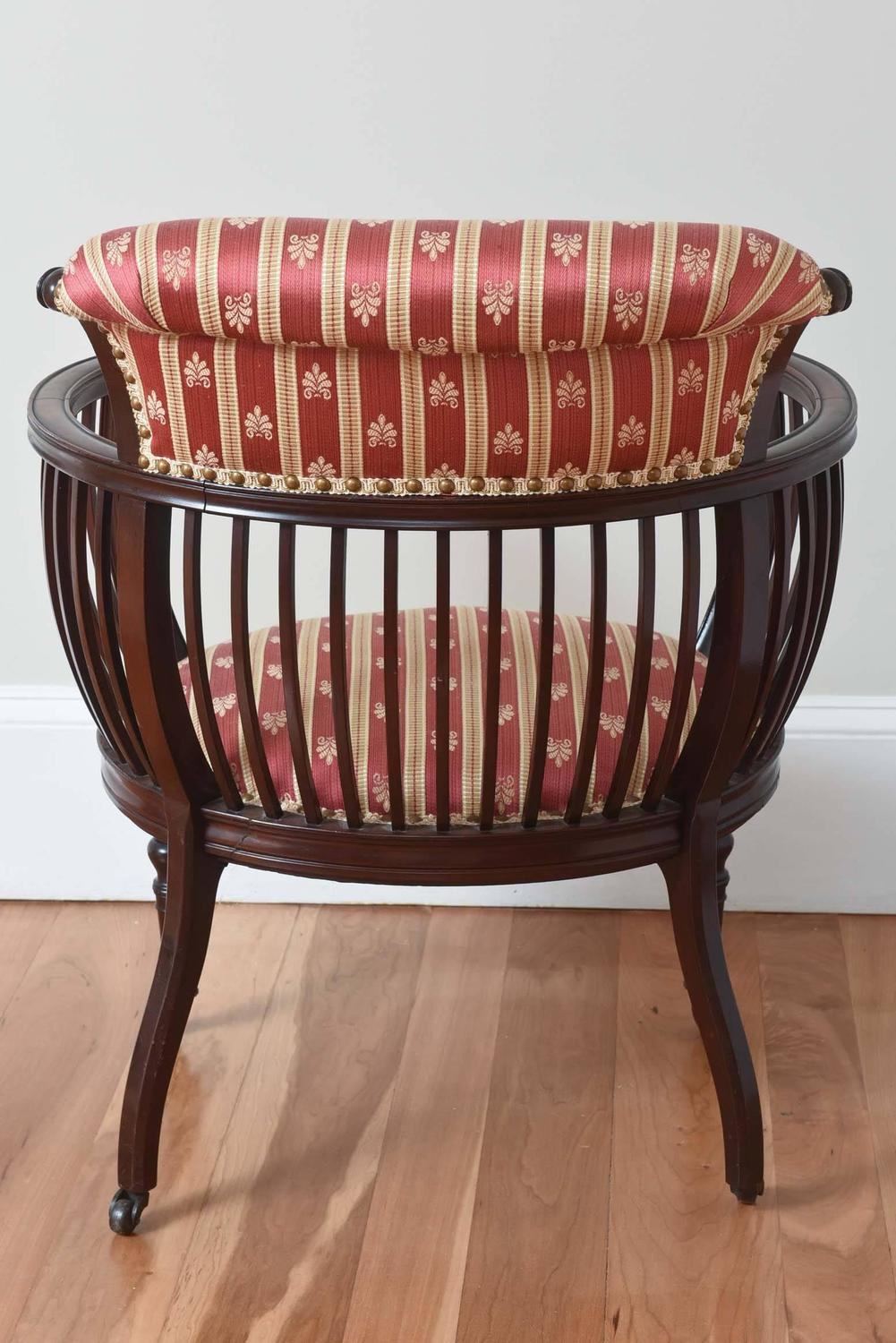 Antique Barrel Back Occasional Chair Finely Carved With