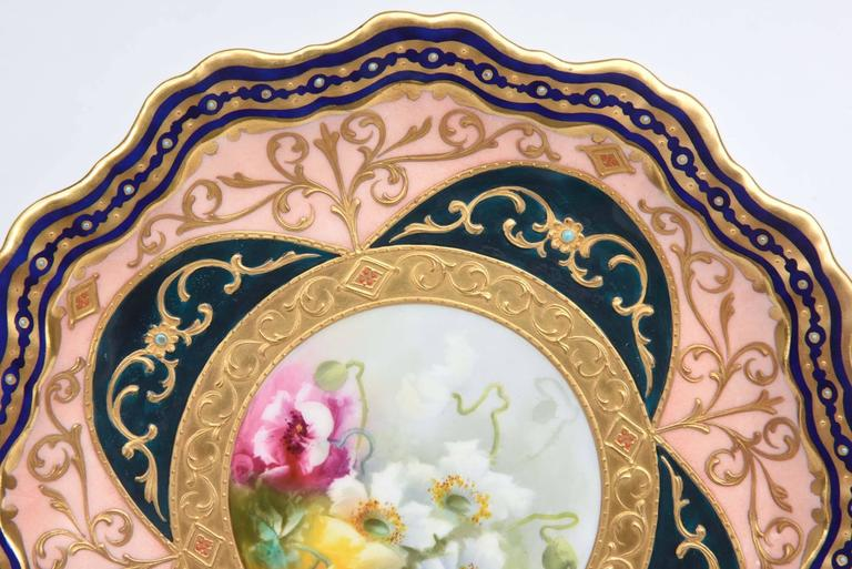 Late Victorian Exquisite and Elaborate Cabinet or Display Plates Pair, Fine Art Gilt Encrusted For Sale